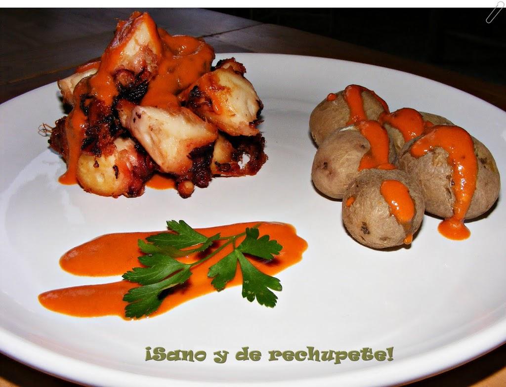 16 Dic COCINA CANARIA: Pulpo Frito Con Papas Arrugadas Y Mojo De Tomate  Picón.