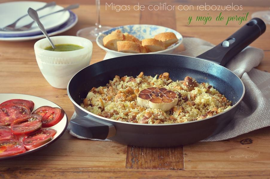 Migas de coliflor con rebozuelos y mojo de perejil. Tradición e innovación sobre tu mesa.