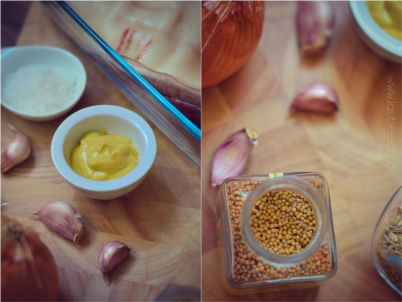 Asado de panceta con salsa de mostaza
