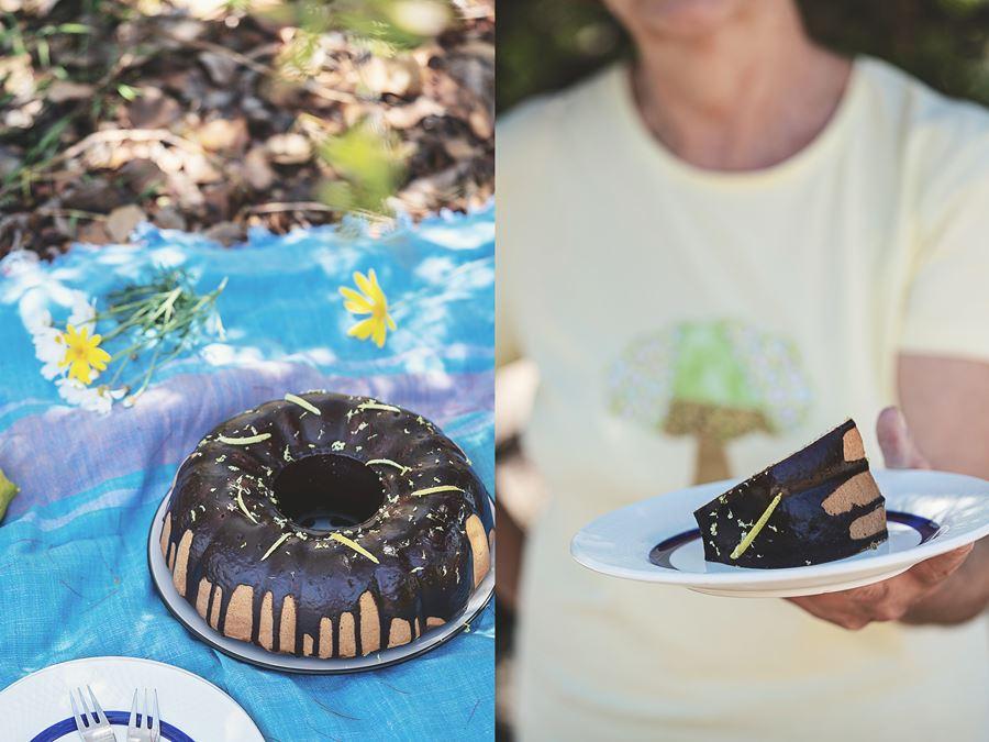 Bundt cake marmolado de limón y chocolate con cobertura de chocolate negro