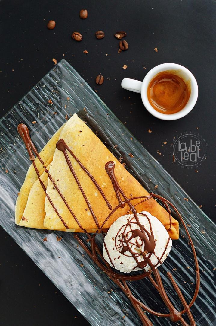 Crêpes y café